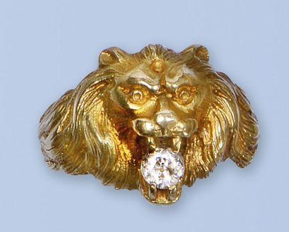 Bague en or jaune 18 K, (750 millièmes)....