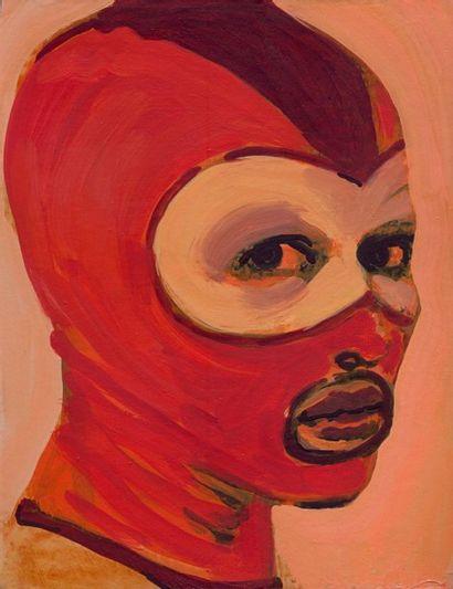 Claire Tabouret Le masque bicolore, 2015. Acrylique sur carton. 28 x 21,8 cm. Signé...