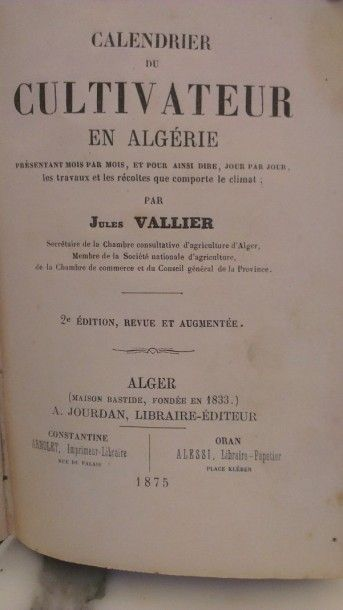 [Agriculture - VALLIER (Jules)]. Calendrier...