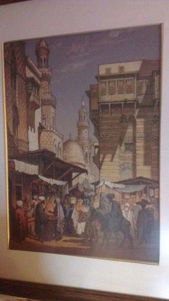 Gravure - Egypte. Lithographie en couleurs...
