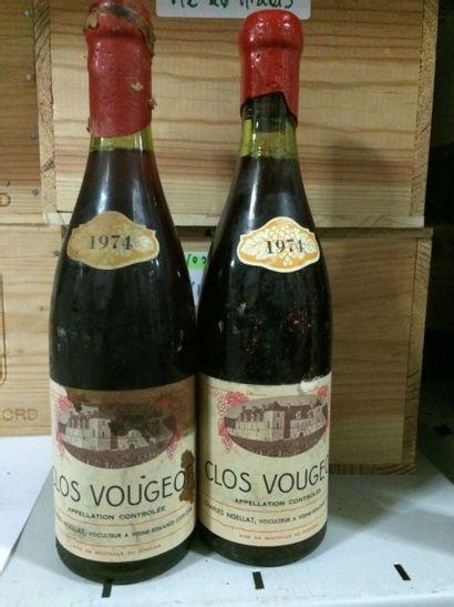 8 Bouteilles CLOS VOUGEOT, C. Noëllat 1974 (état exceptionnel, 1 tachée)