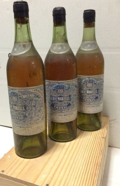 3 Bouteilles COGNAC Martell (B, 2 * et 1...