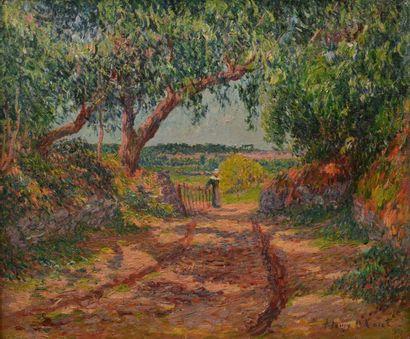Henry MORET ( 1856 - 1913)<br>Bretonne à la haie, chemin creux à Riec, Finistère, 1899<br>RECORD POU