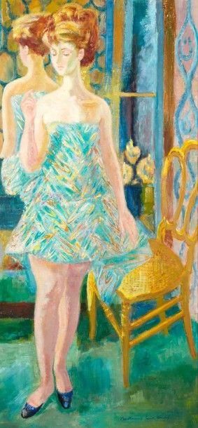 Louis BERTHOMME SAINT ANDRE (Barbery 1905-Paris 1977) L'essayage Huile sur toile...