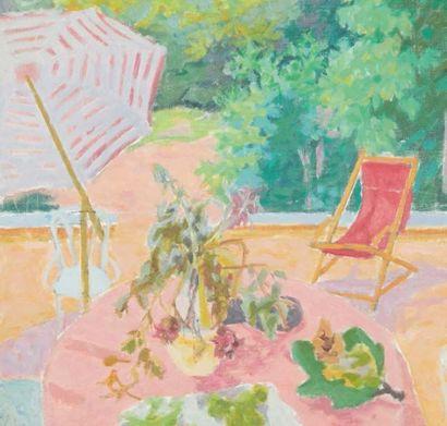Jules CAVAILLÈS (Carmaux 1901 – Épineuil 1977) Terrasse à Epineuil Huile sur toile...