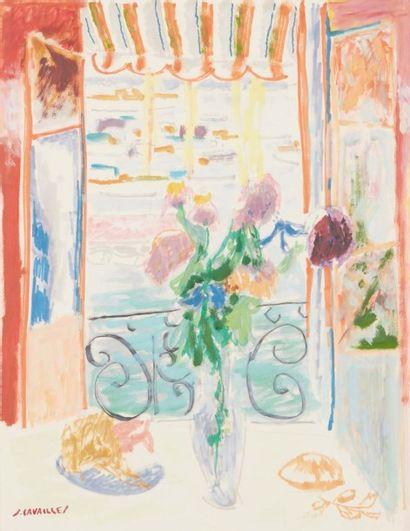 Jules CAVAILLÈS (Carmaux 1901 – Épineuil 1977) Cannes, vue du port Huile sur papier...