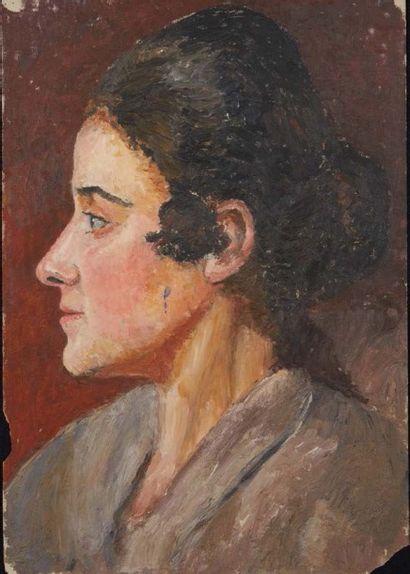 Jules CAVAILLÈS (Carmaux 1901 – Épineuil 1977) Jeanine de profil Huile sur carton...