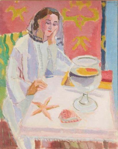 Jules CAVAILLÈS (Carmaux 1901 – Épineuil 1977) Rêverie ou Rose aux coquillages Huile...