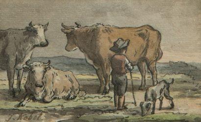Jan KOBELL II (Delphes 1778 - Amsterdam 1814) Pastorale  Gouache  7, 2 x 11,2 cm...