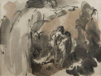 Eugène VERBOECKHOVEN (Warneton 1798 - Bruxelles 1881) Etude pour un loup mort  Crayon...
