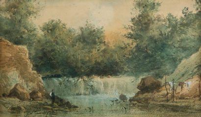 Georges William THORNLEY (Thiais 1857 – 1935) Personnage regardant une cascade  Aquarelle...