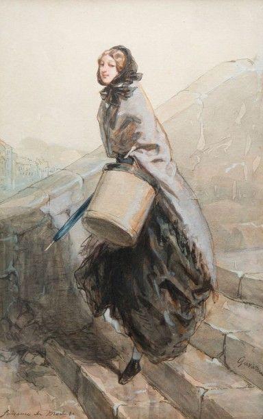 Sulpice Guillaume CHAVALIER dit Paul GAVARNI (Paris 1804 – 1866) La faiseuse de mode...