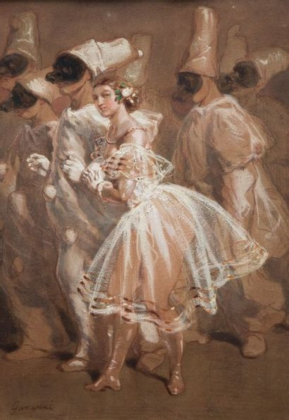 Sulpice Guillaume CHAVALIER dit Paul GAVARNI (Paris 1804 – 1866) Le bal de Pierrot...
