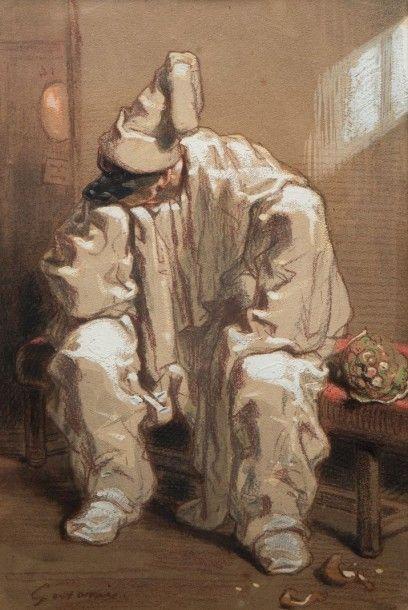 Sulpice Guillaume CHAVALIER dit Paul GAVARNI (Paris 1804 – 1866) Pierrot  Crayon...