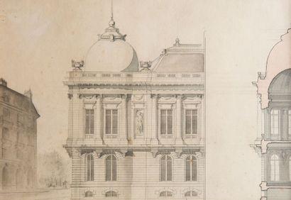 Ensemble de projets d'architecture vers 1880-1900...