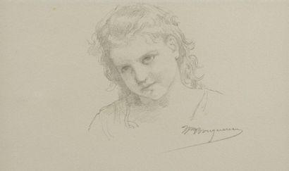William BOUGUEREAU (La Rochelle 1825 – La Rochelle 1905) Tête de petite fille  Crayon...