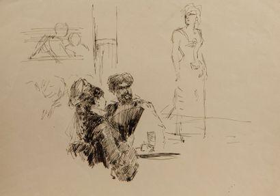 Henri SOMM (Rouen 1844 – Paris 1907) Au cabaret  Plume et encre brune  22 x 28 cm...