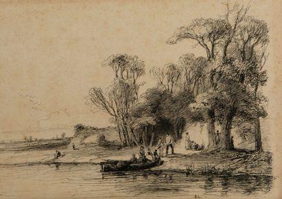Attribué à Emile LAMBINET (Versailles 1813 – Bougival 1877)