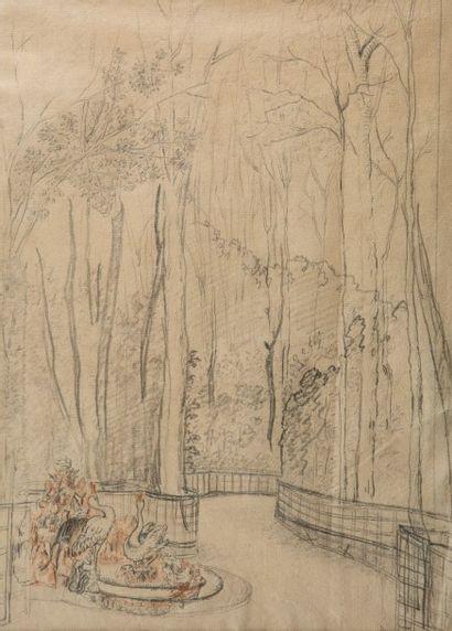 ECOLE FRANCAISE DU XIXème siècle Sous bois avec un petit bassin, dans le goût de...