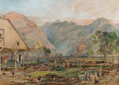 Louis THIENON (Paris 1812 – 1881) Vue du lac Königssee en Bavière  Aquarelle gouachée...