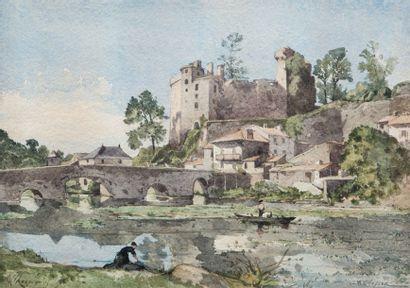 Henri-Joseph HARPIGNIES (Valenciennes 1819 – Saint Privé 1916)