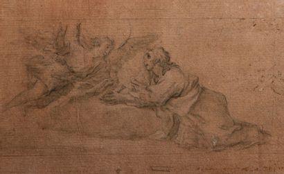 Ecole ESPAGNOLE du XVIIème siècle Un ange et un saint en prière  Plume et encre brune,...