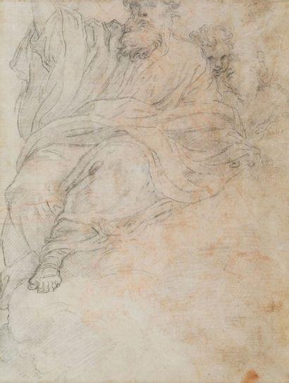Ecole italienne du XVIIe siècle Recto: deux hommes d'église  Verso: Dieu le père...