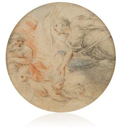 Ecole romaine, entourage de Pier Francesco MOLA (1612 – 1666) Etude de plafond: Junon...