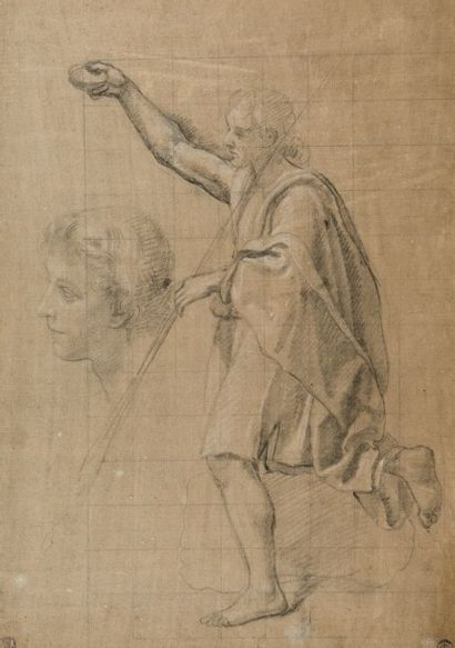 Ecole de Paul BRIL (c.1554 – 1626) Vue de ruines  Plume et encre brune et lavis gris...