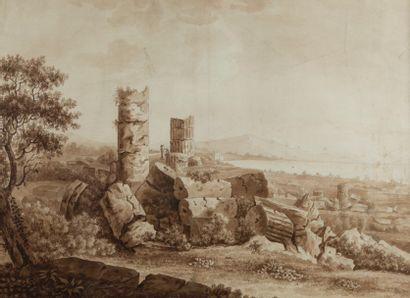 Attribué à Jean Baptiste TIERCE (Rouen 1737 - Florence après 1790)  Paysage aux ruines...