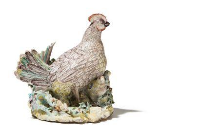 VILLEROY vers 174O<br>Groupe en porcelaine représentant une poule