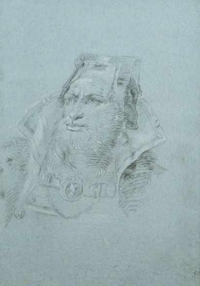 Attribué à Francesco Lorenzi (1723 - 1787)  Tête d'homme portant une coiffe orientale...