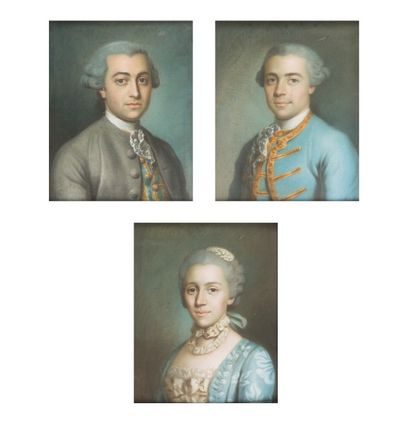 Ecole Française du XVIIIème siècle  Portraits d'hommes et de femme en buste  Pastel...