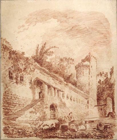 Hubert ROBERT (Paris 1733 - 1808) Vue du château de Casa Nove, près de Terracina,...