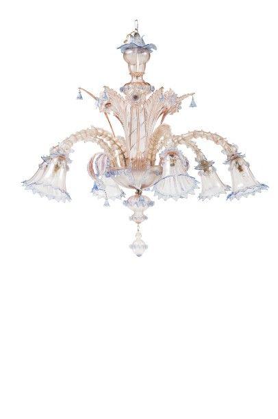 Important lustre  en verre filé de Venise...