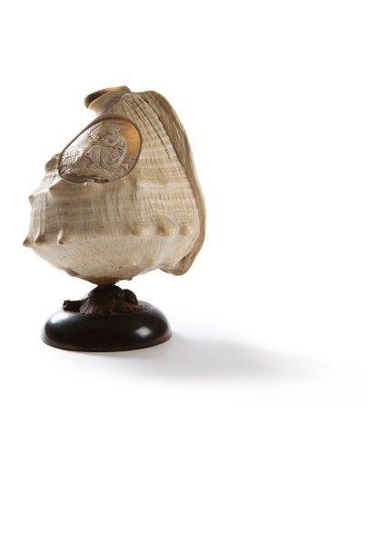 Coquillage  finement sculpté d'un médaillon...