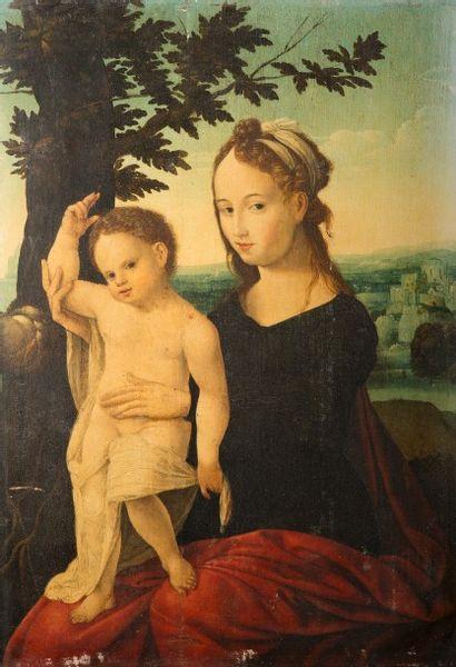 Ecole des PAYS-BAS vers 1550 suiveur de Jan van Scorel d'Utrecht Vierge à l'Enfant...