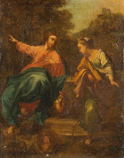 ÉCOLE ITALIENNE DU XVIIIÈME SIÈCLE  Jésus et la Samaritaine  Toile  34,5 x 28 cm...