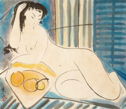 Lin FENGMIAN (1900-1991)<br>Femme nue aux fruits