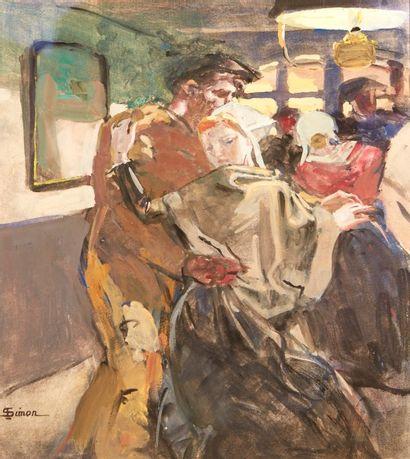 Lucien SIMON (Paris 1861 - Combrit 1945)  Bal en Pays Bigouden  Gouache sur papier...