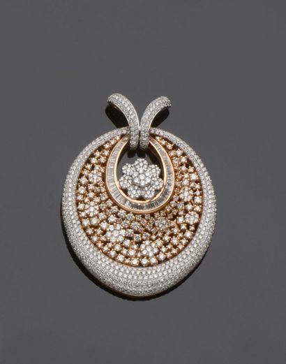 Grand pendentif ovale en or 750 millièmes...
