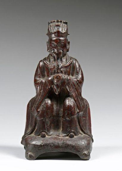 Statuette de dignitaire en bronze laqué  CHINE,...