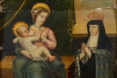 ÉCOLE FRANÇAISE vers 1640 La Vierge allaitant le Christ devant la Reine de France...