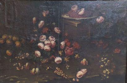 Ecole espagnole du XVIIème Fleurs et assiette de fraises sur fond de paysage  Huile...