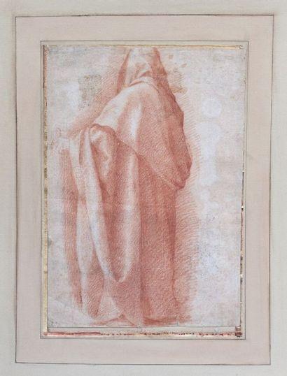 École italienne du XVIème Etude d'un personnage drapé, vu de dos, d'après un maître...