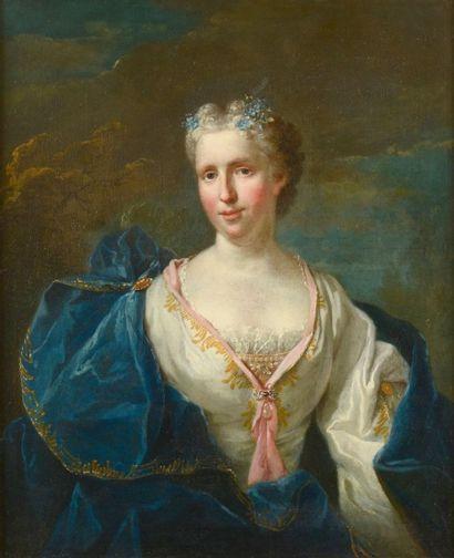 Attribué à Jean Baptiste OUDRY (1686-1755) Portrait de jeune femme à la robe bleue...