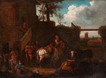 Ecole ROMAINE du XVIIIème siècle, entourage de Pieter van BLOEMEN (1657-1720) Cavalier...