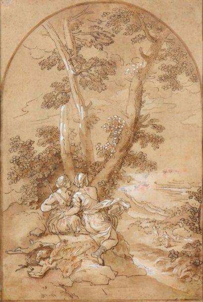 Attribué à Donato CRETI (1671-1749) Scène de chasse dans un paysage avec Diane et...