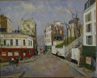 Jacques BOUYSSOU (La Rivière Saint Sauveur 1926 - 1997) Vue de Montmartre  Huile...