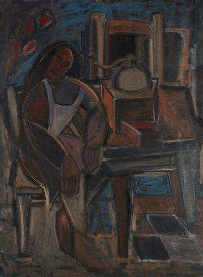 Amand BOUVIER (1913-1997)  La ménagère endormie...